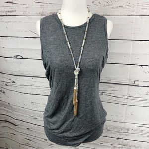 Athleta Heather Gray Tank with Open Criss Cross